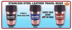 Snowbirds Stainless Steel Travel Mug with Leather Trim